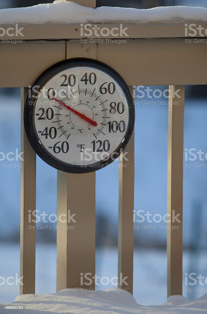 Minus Two Morning Thermometer stock photo