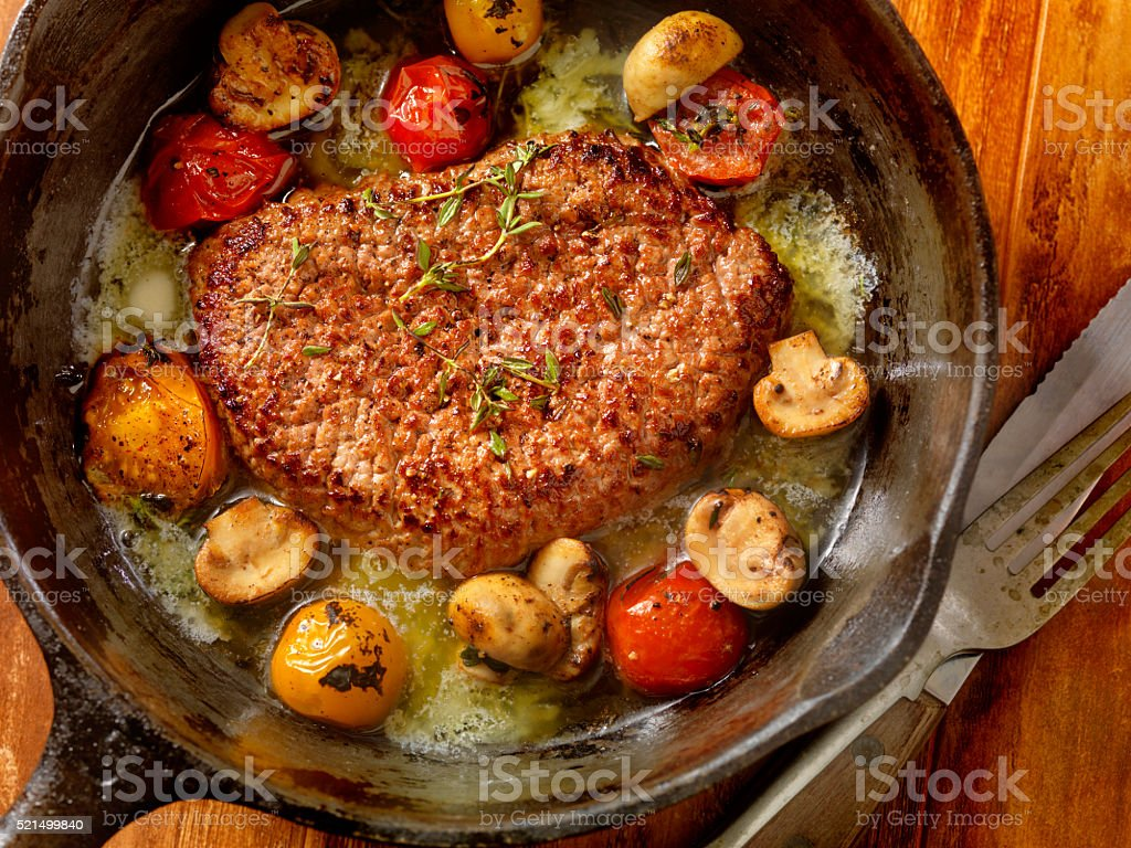 Minute Steak with Tomatoes and Mushrooms stock photo