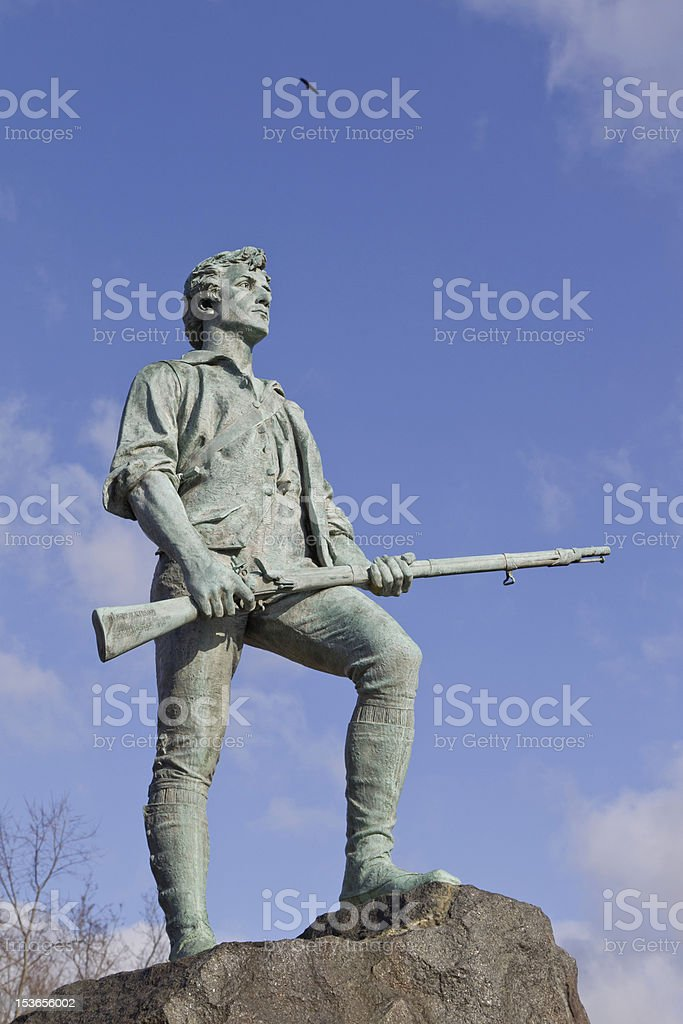 Minuteman Statue and Eagle stock photo