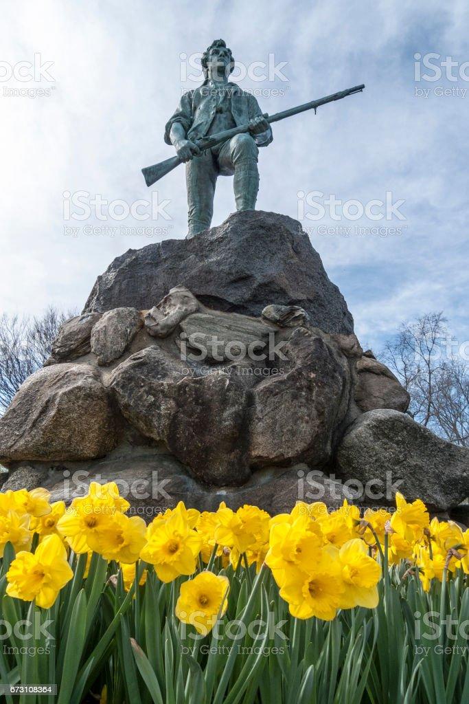 Minuteman statue at Lexington Battle Green, Massachusetts stock photo