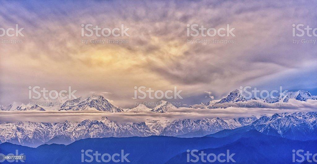Minya Konka snow mountain stock photo