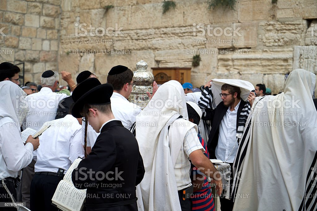 Minyan at the Western Wall stock photo