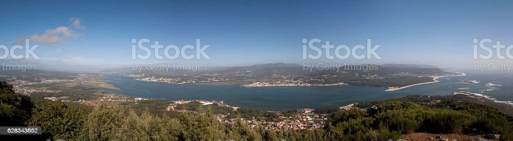 Miño River mouth from Spain looking south to Portugal. stock photo