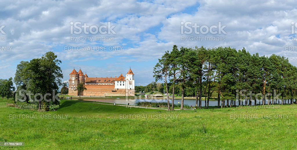 Mir Castle Complex, Belarus. Panorama stock photo