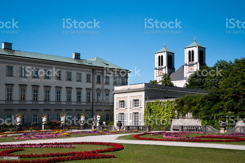 Mirabell garden and castle stock photo