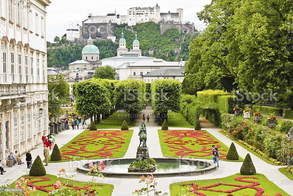 Mirabell Gardens in Salzburg, Austria stock photo