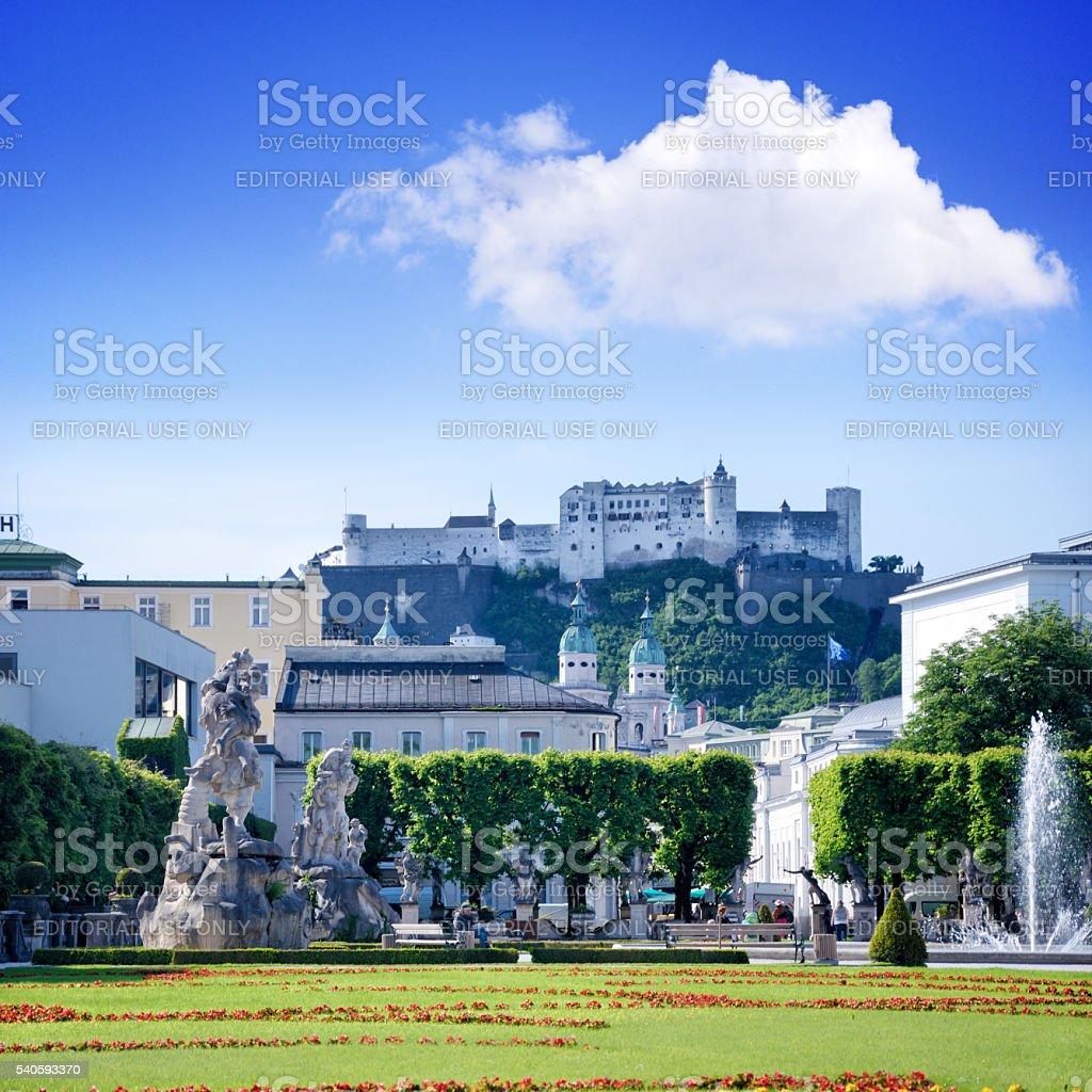 Mirabell Gardens in Salzburg stock photo