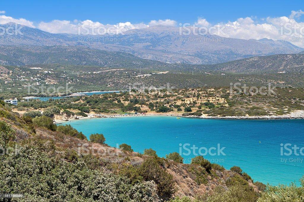 Mirabello bay at Crete island in Greece stock photo