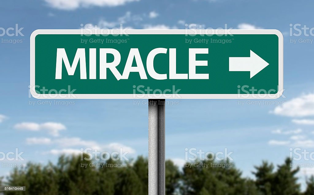 Miracle creative sign stock photo