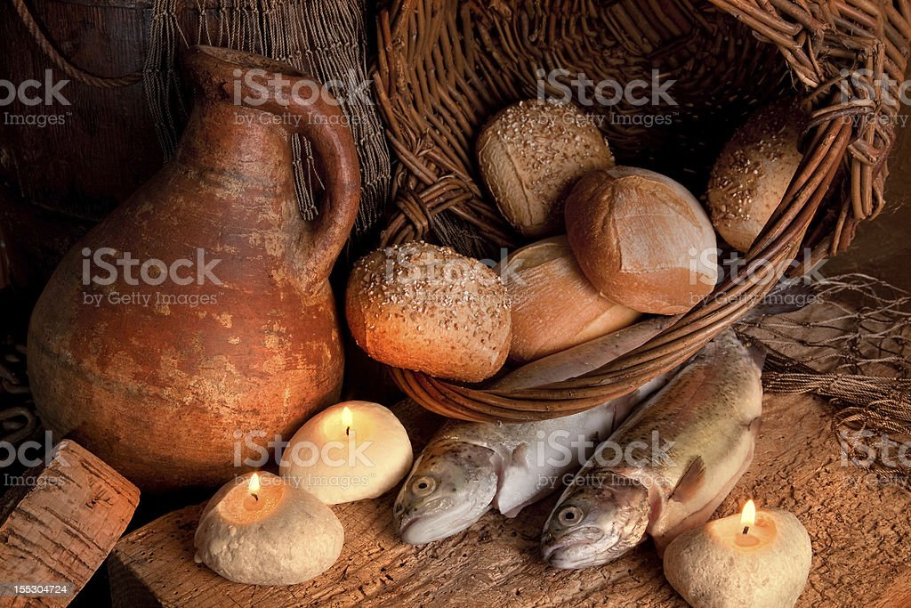 Miracle of bread and fish stock photo