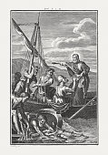 Miraculous catch of fish (Luke 5), copper engraving, published c.1850