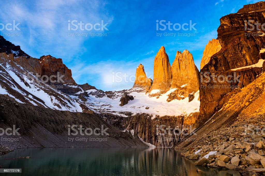 Mirador Torres at sunrise in the Torres del Paine National Park in Patagonia, Chile stock photo