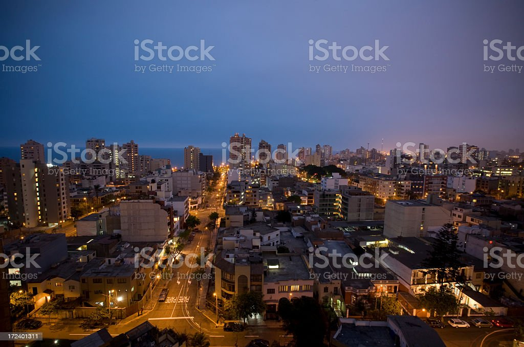 Miraflores Cityscape in Lima Peru stock photo