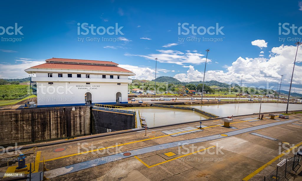 Miraflores Locks at Panama Canal - Panama City, Panama stock photo