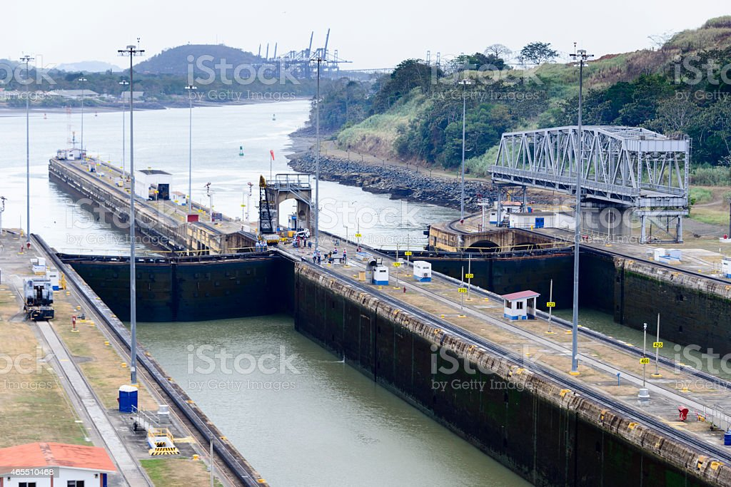 Miraflores Locks of the Panama Canal stock photo