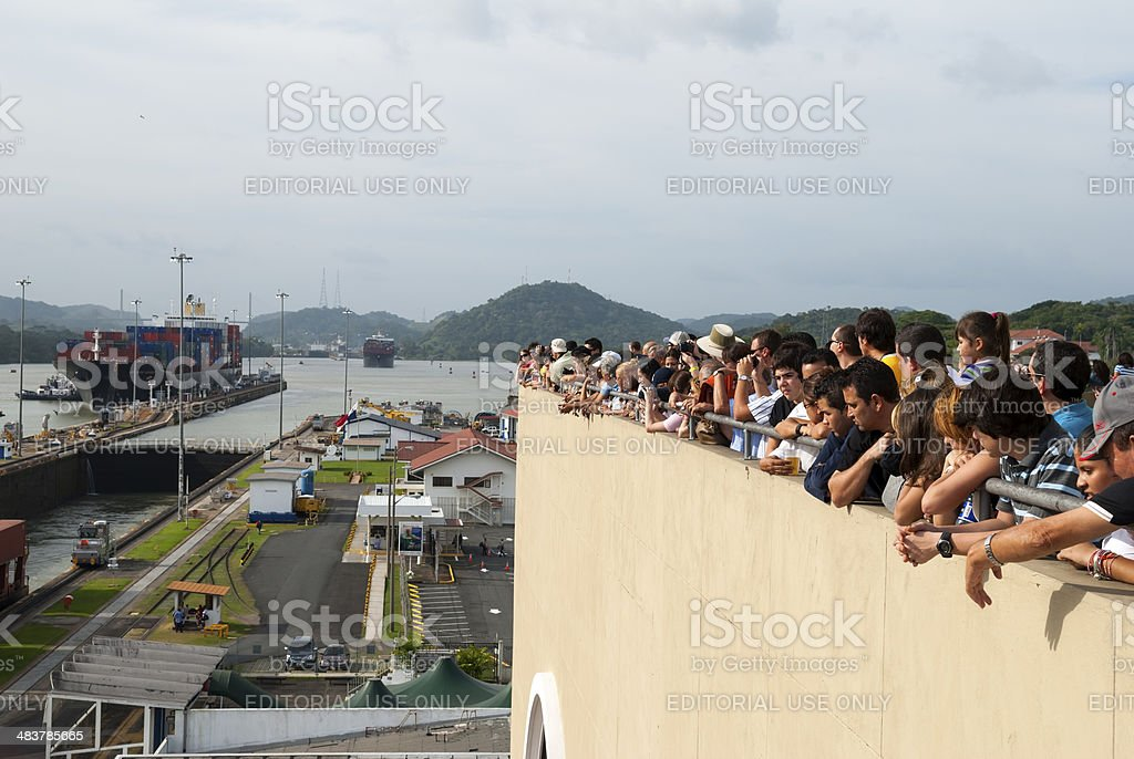 Miraflores Locks viewing platform stock photo