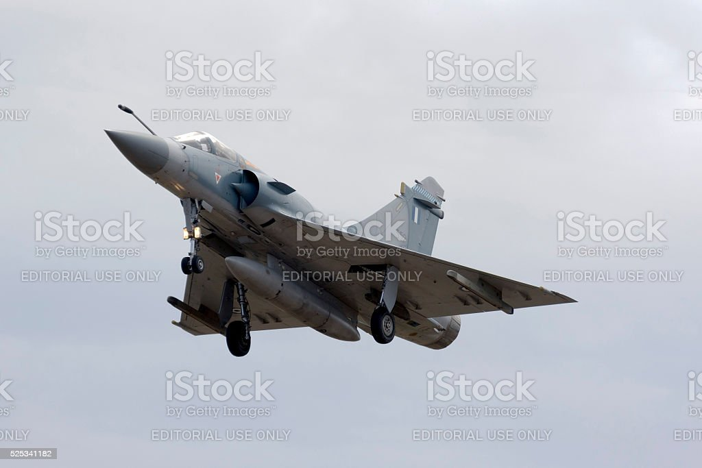 Mirage 2000 landing. stock photo