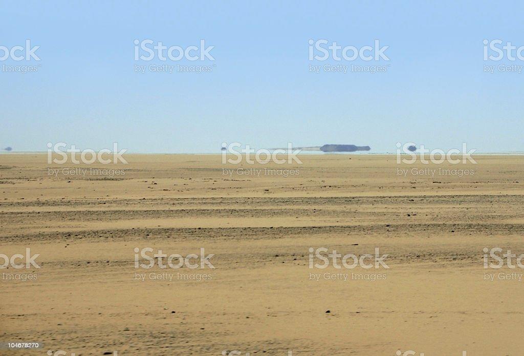 mirage in desert ambiance stock photo