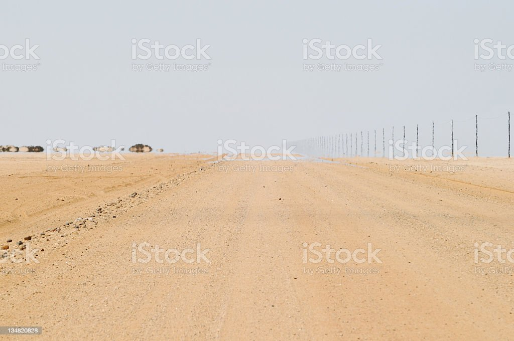 Mirage on a rural road in Namibia stock photo