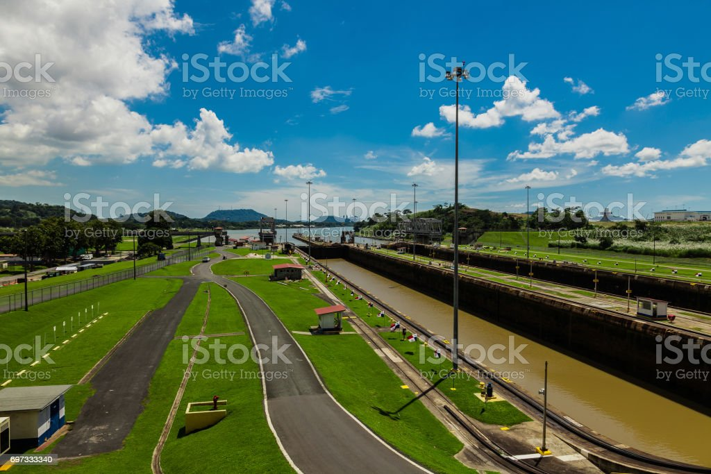 Miralflores locks at the Panama Canal. stock photo