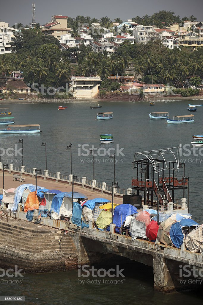 Miramar Beach Flee market, Panjim stock photo