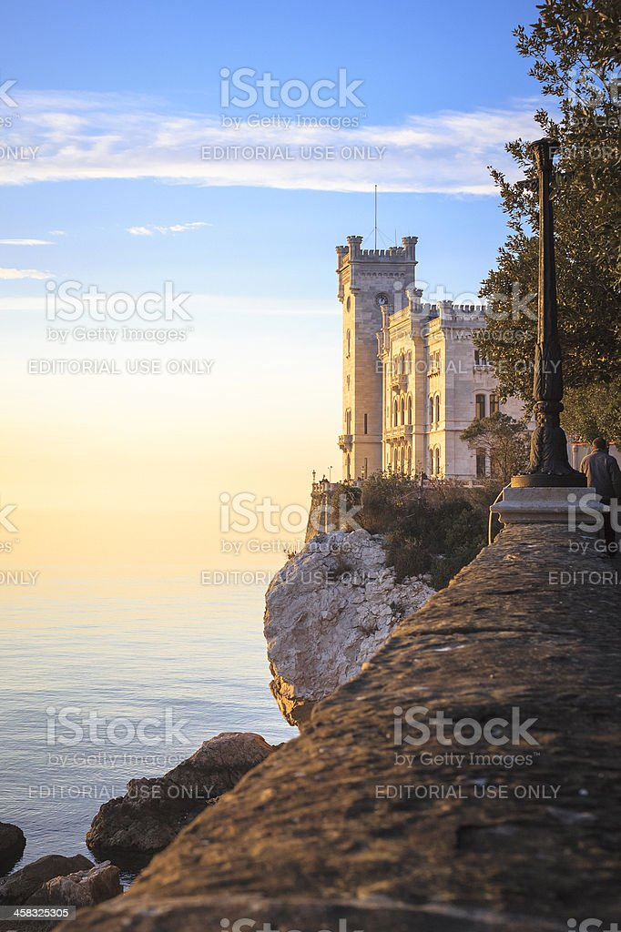 Miramare Castle at sunset , Trieste, Italy royalty-free stock photo