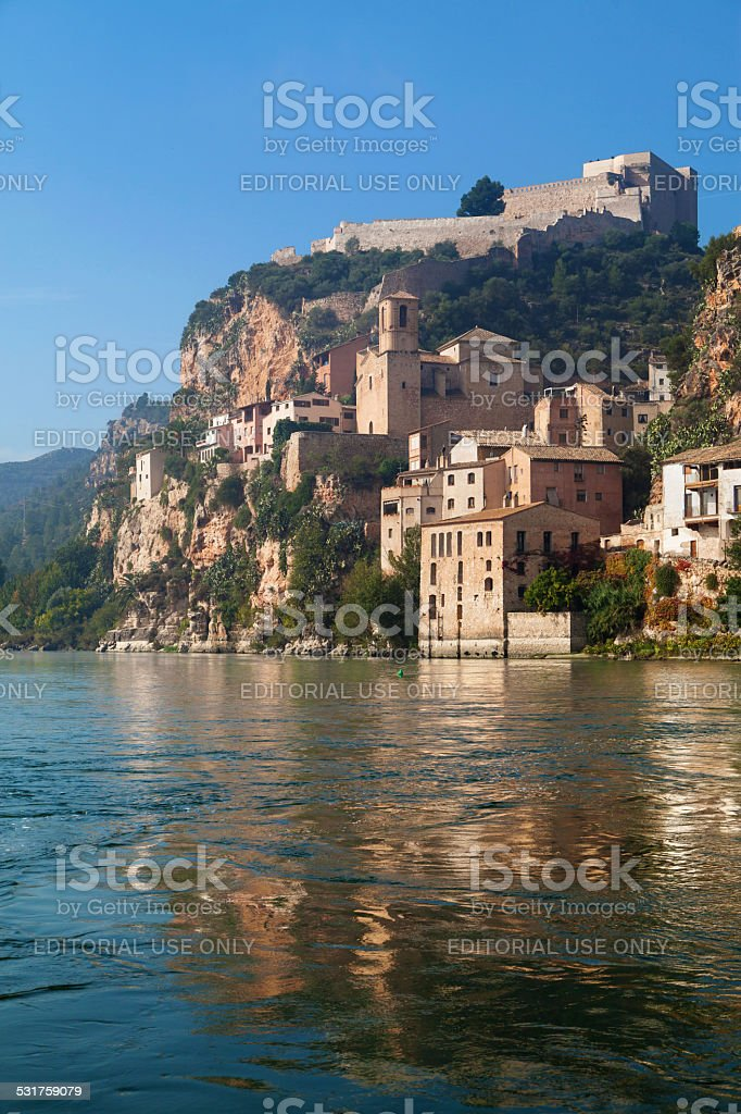 Miravet Castle and the Ebro river stock photo