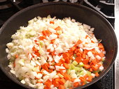 Mirepoix in skillet carrot,celery,onion
