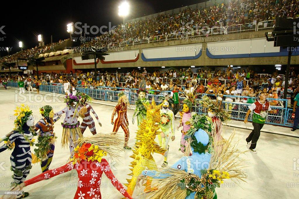 Mirim samba school presentation, Sambodrome in Rio de Janeiro carnival stock photo
