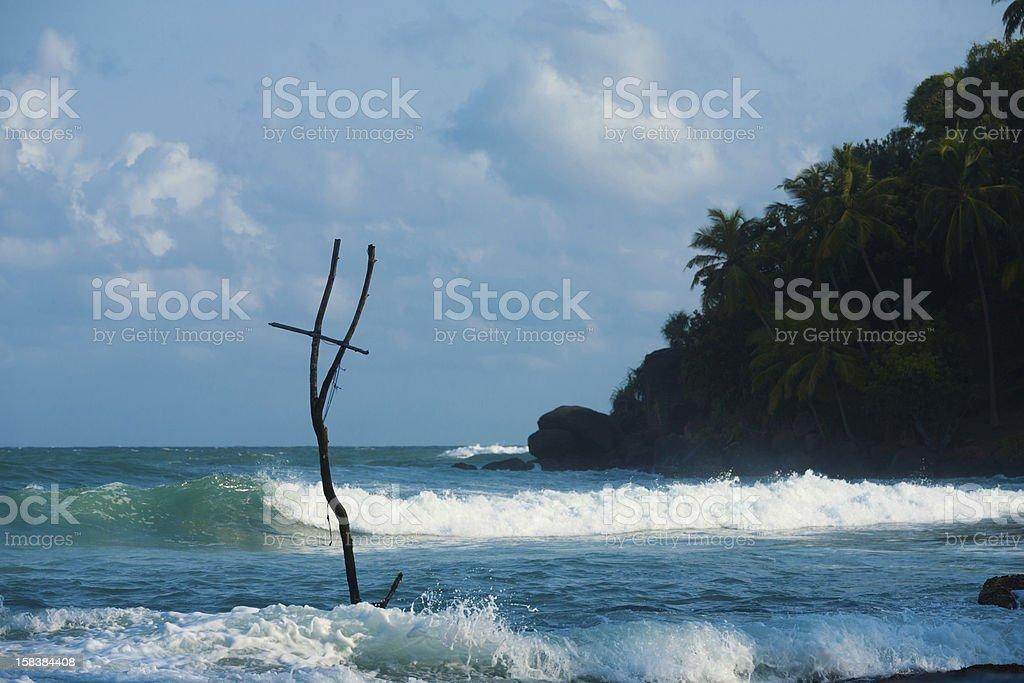 Mirissa Stilt Fishing Coast Surf Wave Sri Lanka royalty-free stock photo