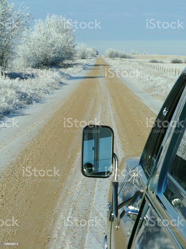 Mirror and a Prairie Road royalty-free stock photo