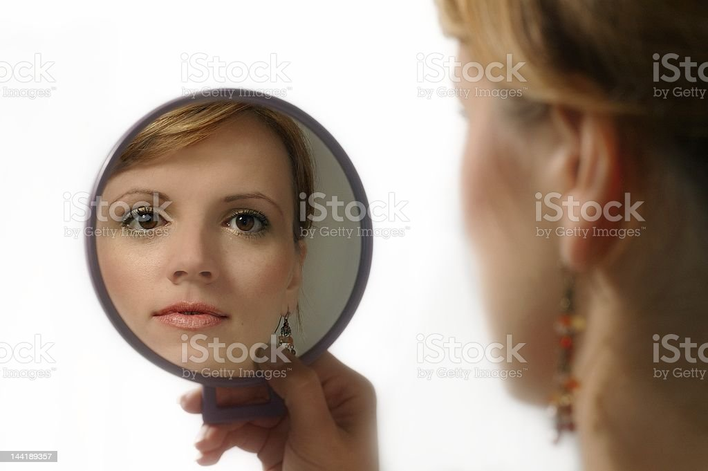 mirror and woman royalty-free stock photo