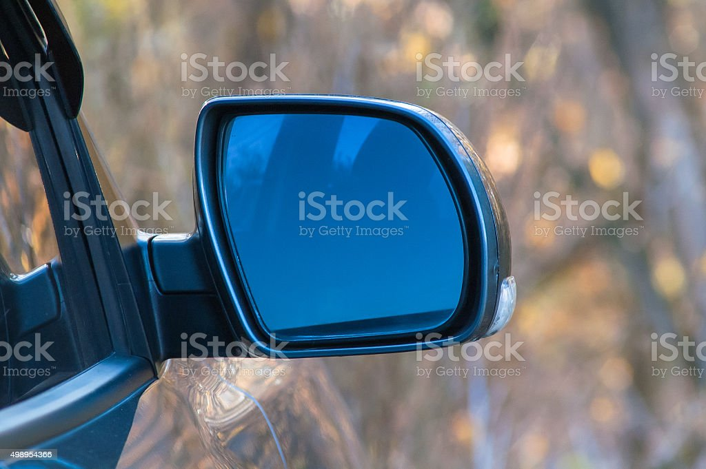 Mirror by car stock photo