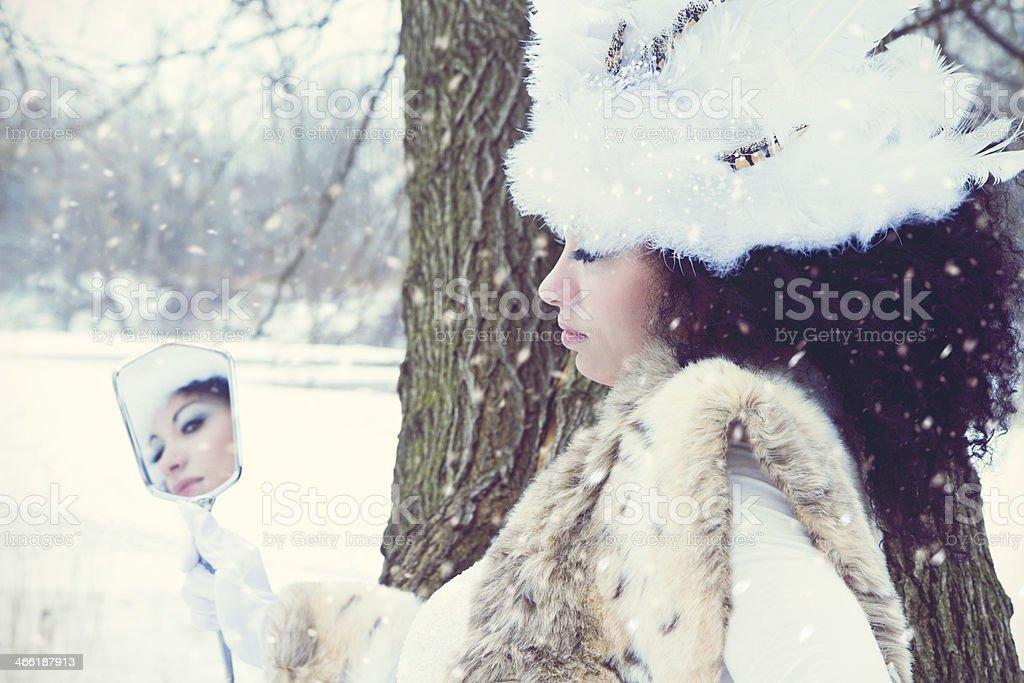 Mirror Concept. Winter Portrait stock photo