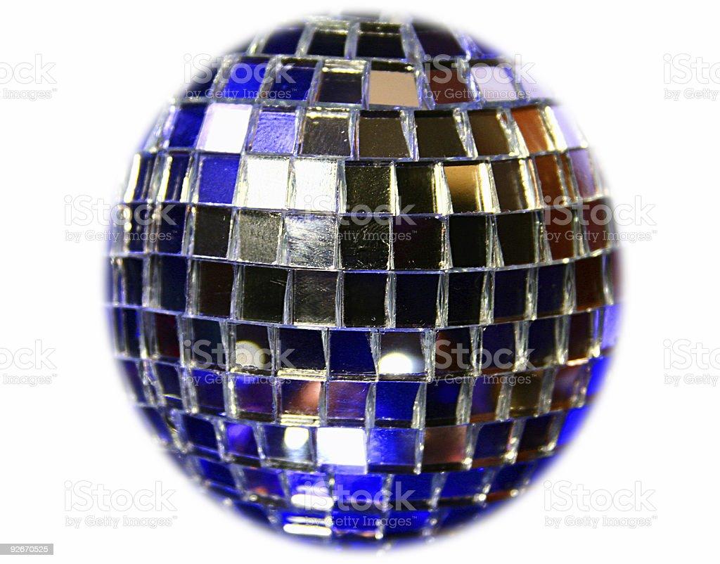 Mirror Disco globe - isolated on blue royalty-free stock photo