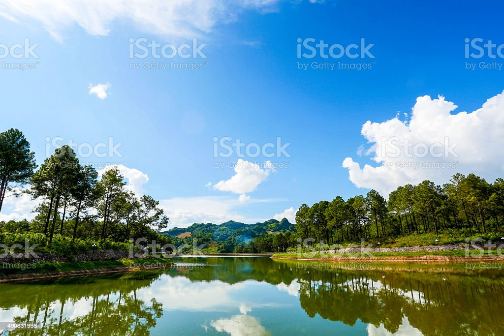 Mirror effect on a lake - Stock Image stock photo