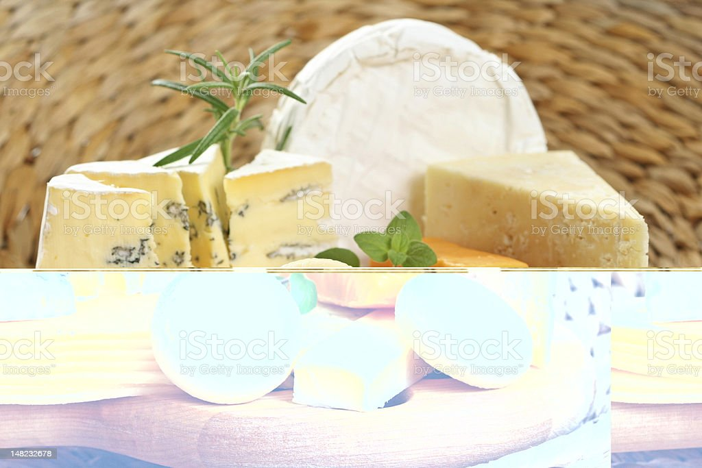 Mirror image of various cheeses on a table royalty-free stock photo