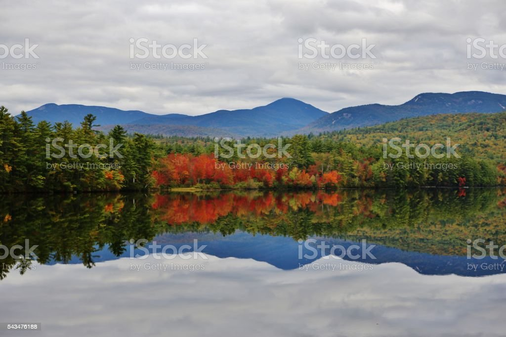 Mirror Image on Chocorua Lake stock photo