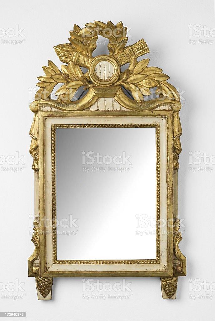 Mirror in a golden frame stock photo