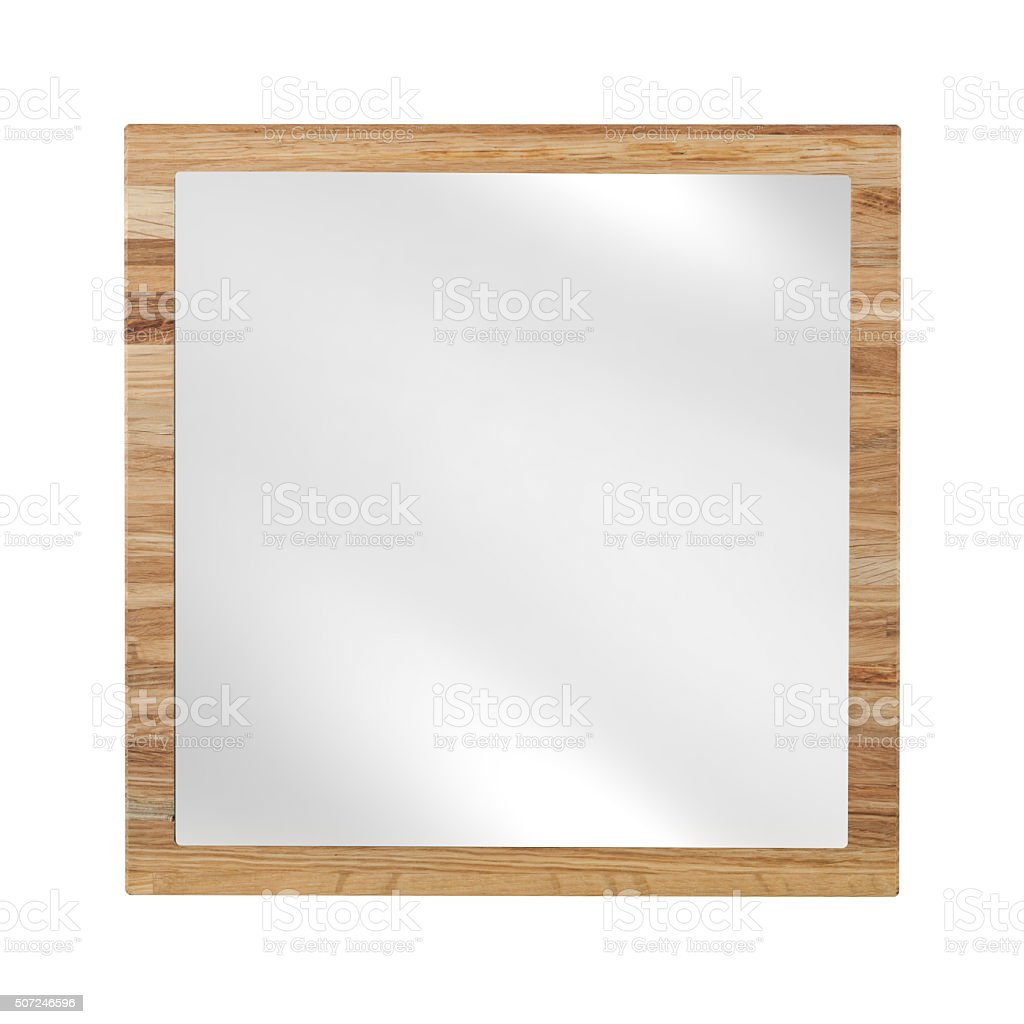 Mirror in beach wooden frame - isolated on white stock photo