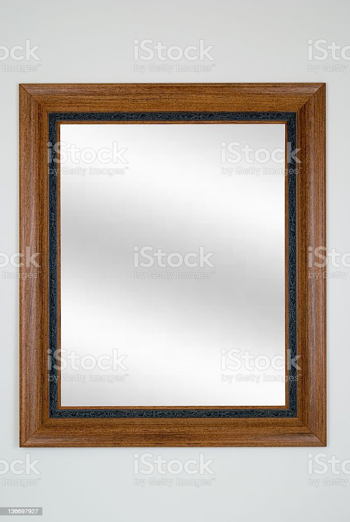 Mirror in Brown Picture Frame, White Isolated royalty-free stock photo