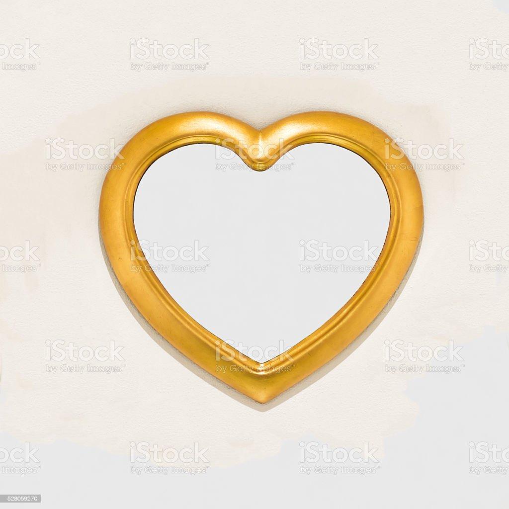 mirror in heart shape stock photo