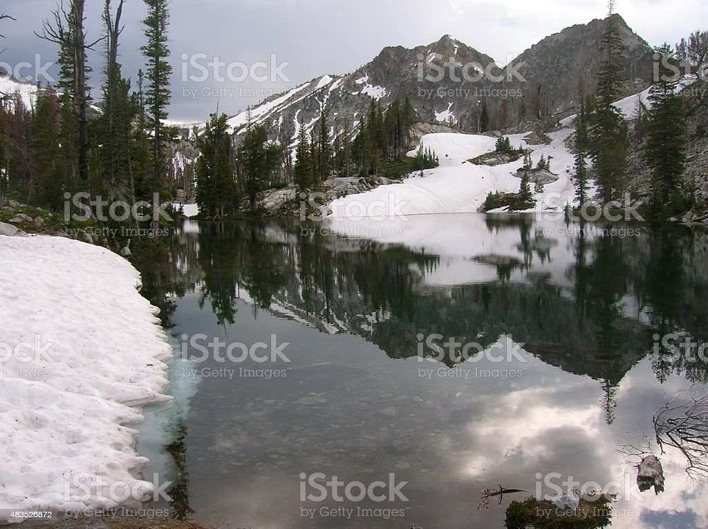 Mirror in the Sawtooths stock photo