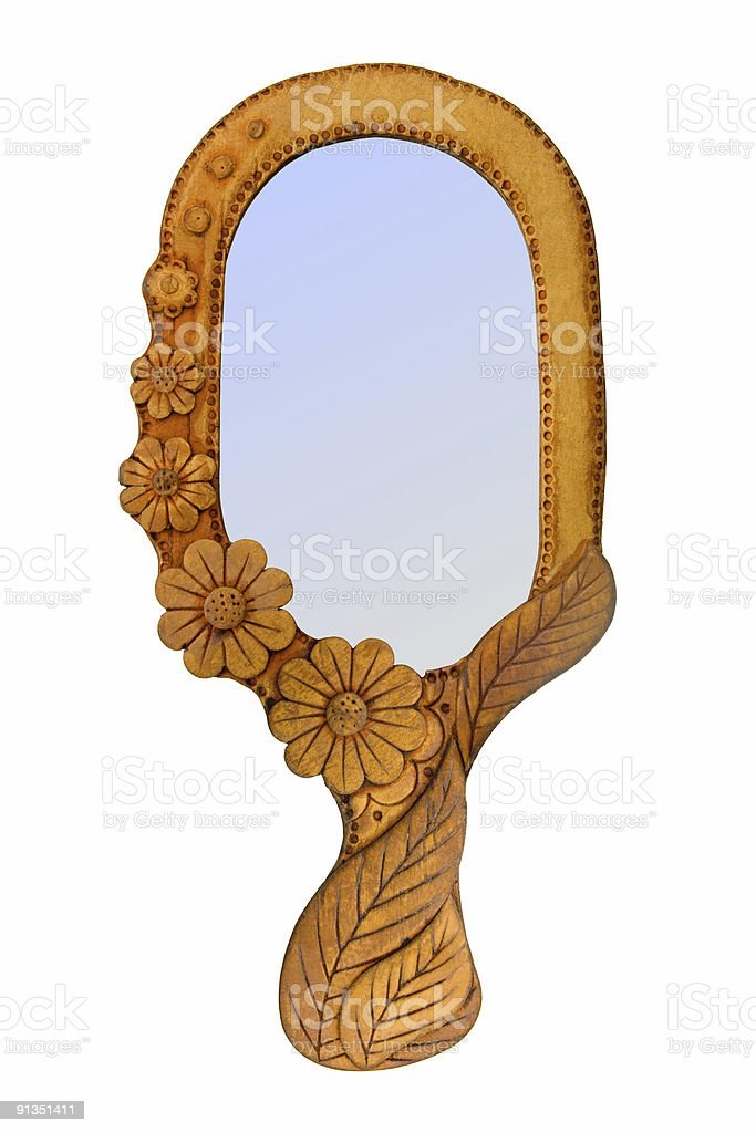 Mirror in wooden frame royalty-free stock photo