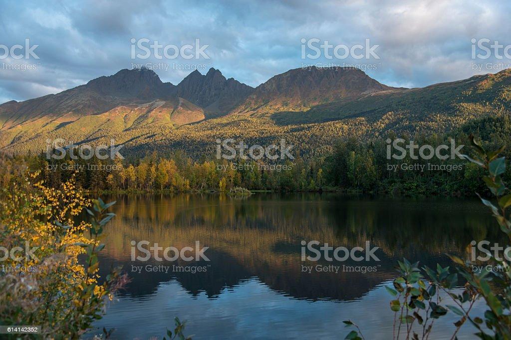 Mirror lake, Alaska stock photo