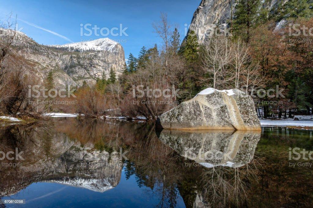 Mirror Lake at winter - Yosemite National Park, California, USA stock photo