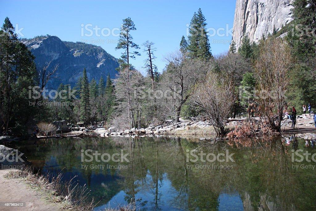 Mirror Lake in Yosemite National Park California, USA stock photo