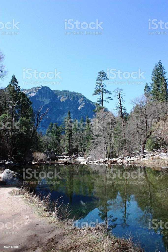 Mirror Lake in Yosemite-National Park California, USA stock photo