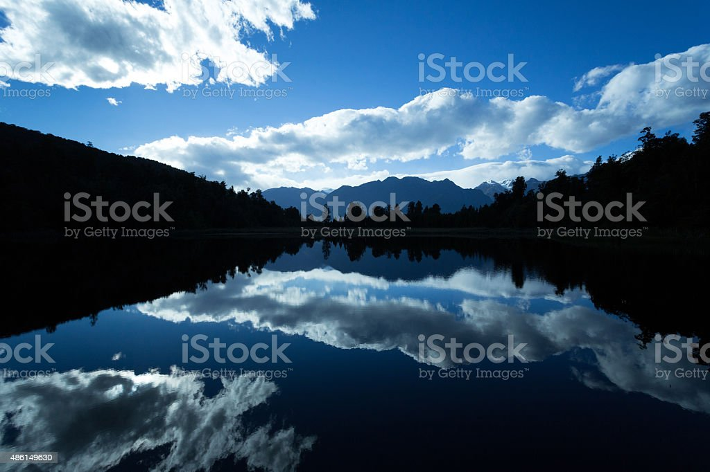 Mirror Lake, Lake Matheson, New Zealand stock photo