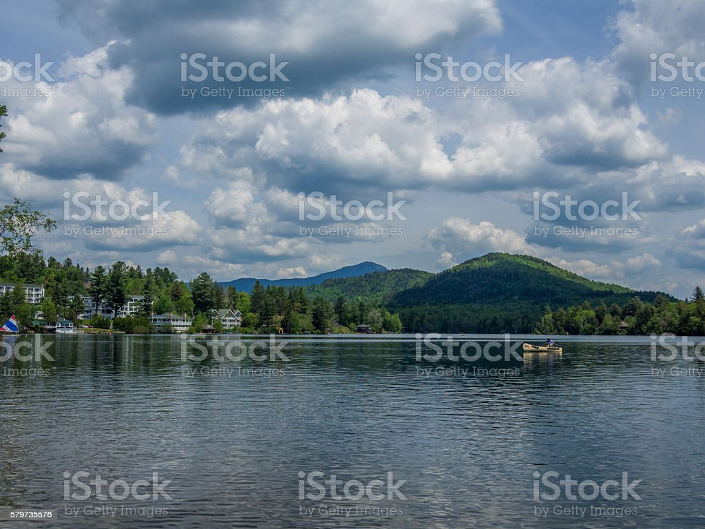 Mirror Lake of Lake Placid village stock photo